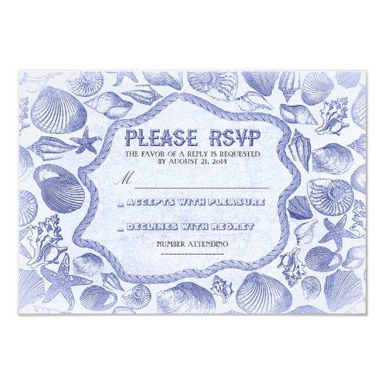 blue seashells nautical beach wedding RSVP card