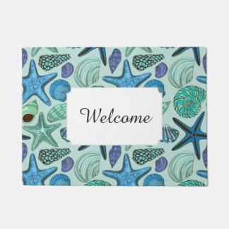Blue Seashells & Starfish Pattern | Add Your Text Doormat