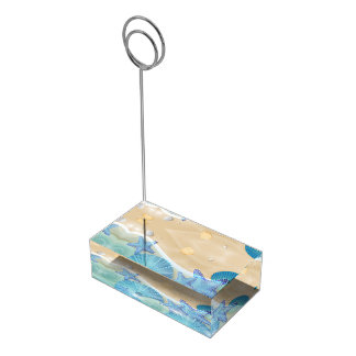 Blue Seashells Wedding Table Card Holder