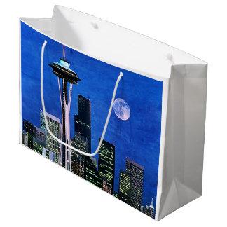 Blue Seattle Skyline Large Gift Bag