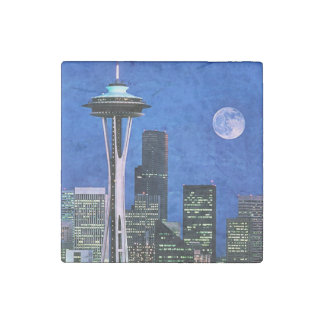 Blue Seattle Skyline Stone Magnet