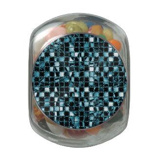 Blue Sequin Effect Glass Candy Jar