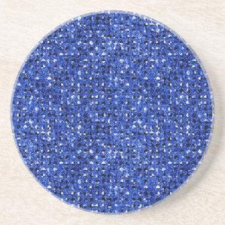 blue sequin effect sandstone drink coasters