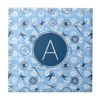 Blue Sewing Pattern with Monogram Ceramic Tile