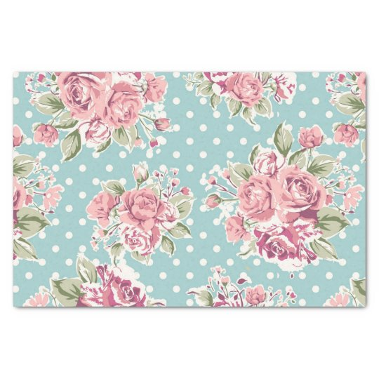 Blue ,shabby chic,polka dot white,floral pink,fun, tissue paper