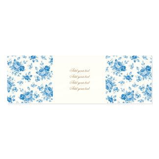 blue,shabby chic,roses,victorian,pattern,elegant,v pack of skinny business cards