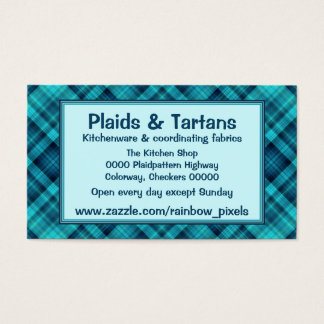 Blue shaded plaid pattern business card