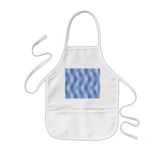 Blue Shades Rhombus And Hexagon Pattern Kids Apron