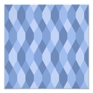 Blue Shades Rhombus And Hexagon Pattern Photo Print