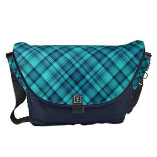Blue shades tartan courier bag