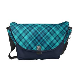 Blue shades tartan messenger bag