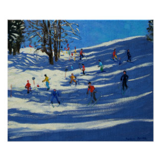 Blue shadows Morzine Poster