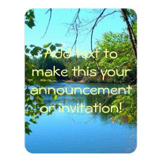 Blue Shadowy Country Lake 11 Cm X 14 Cm Invitation Card