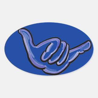 Blue shaka hawaii sticker