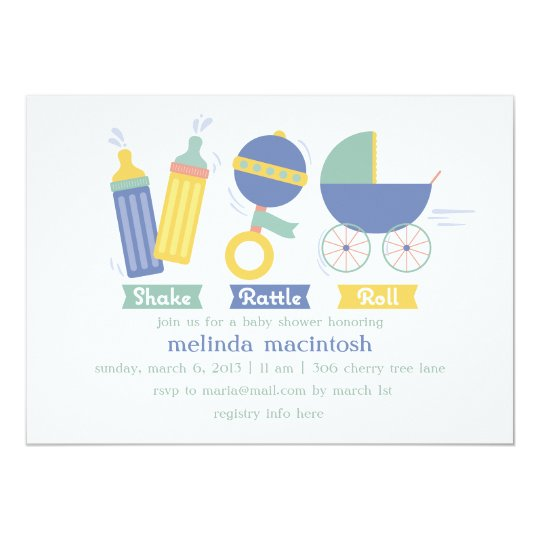 Blue Shake Rattle & Roll Baby Shower Invitation