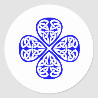 blue shamrock celtic knot classic round sticker
