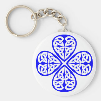 blue shamrock celtic knot key ring
