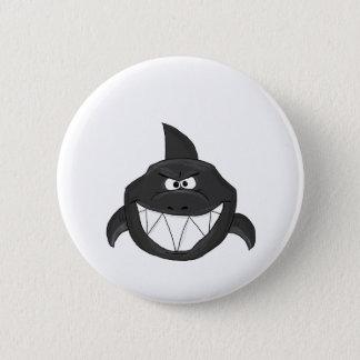 Blue shark 6 cm round badge