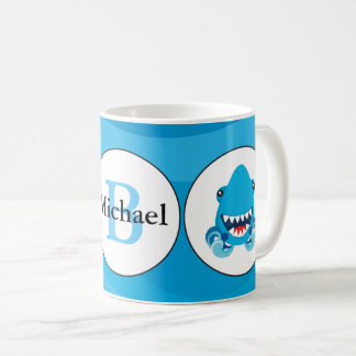 Blue shark beach monogram coffee mug