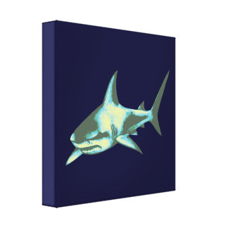 blue shark decor stretched canvas print