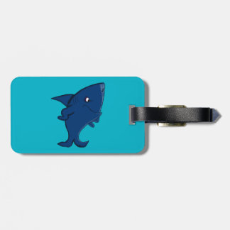 Blue shark luggage tag