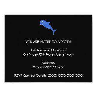 Blue Shark on Black. Card