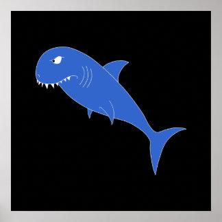 Blue Shark on Black. Print