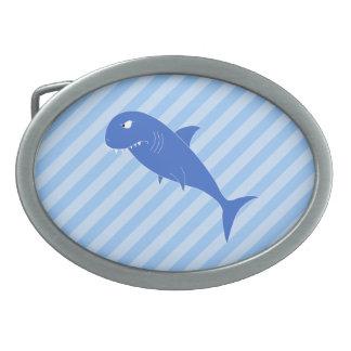 Blue Shark. Oval Belt Buckle