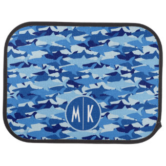 Blue Shark Pattern | Monogram Car Mat