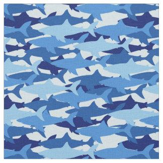 Blue Shark Pattern   Monogram Fabric