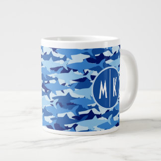 Blue Shark Pattern | Monogram Large Coffee Mug