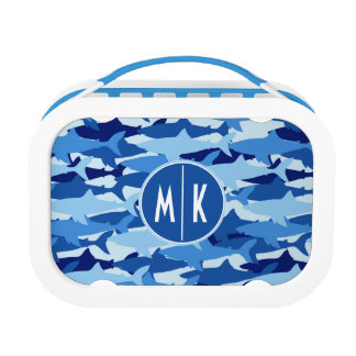 Blue Shark Pattern | Monogram Lunch Box