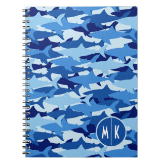 Blue Shark Pattern | Monogram Notebooks