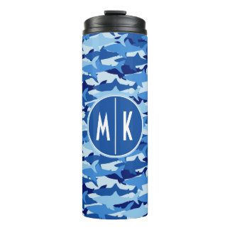 Blue Shark Pattern | Monogram Thermal Tumbler