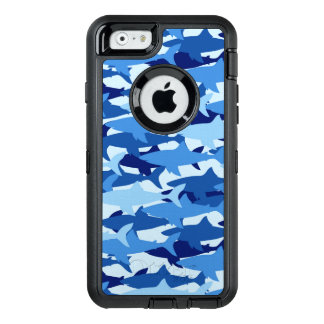 Blue Shark Pattern OtterBox Defender iPhone Case
