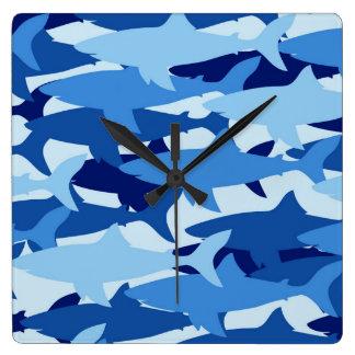Blue Shark Pattern Square Wall Clock
