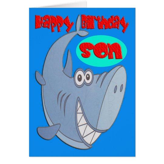 Blue Shark Son Birthday Card