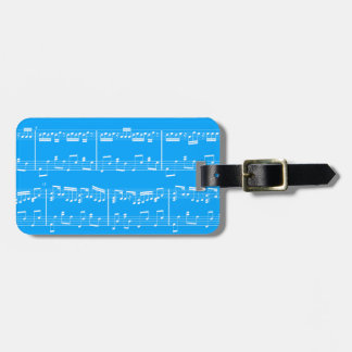 Blue Sheet Music Luggage Tag