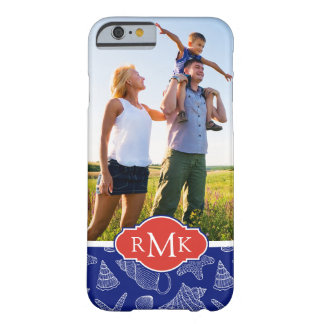 Blue Shell Pattern | Your Photo & Monogram Barely There iPhone 6 Case