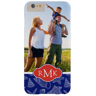 Blue Shell Pattern | Your Photo & Monogram Barely There iPhone 6 Plus Case