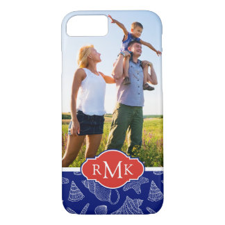 Blue Shell Pattern | Your Photo & Monogram iPhone 8/7 Case