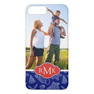 Blue Shell Pattern | Your Photo & Monogram iPhone 8 Plus/7 Plus Case