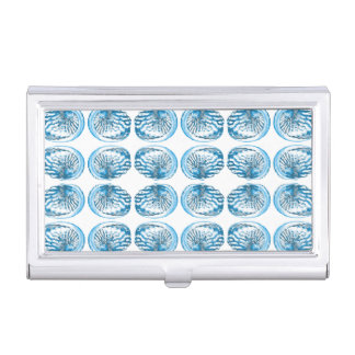 Blue Shells Pattern. Business Card Holder