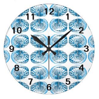 Blue Shells Pattern. Large Clock