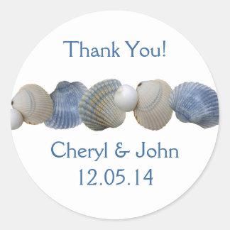 Blue Shells Round Wedding Favor Label Round Sticker