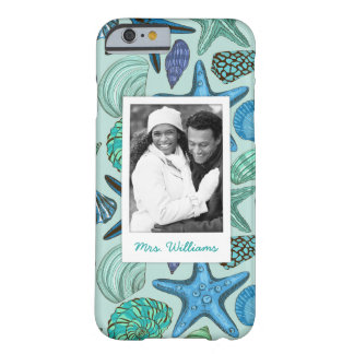 Blue Shells & Starfish Pattern | Your Photo & Name Barely There iPhone 6 Case