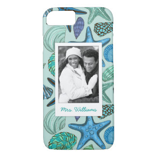 Blue Shells & Starfish Pattern | Your Photo & Name iPhone 8/7 Case