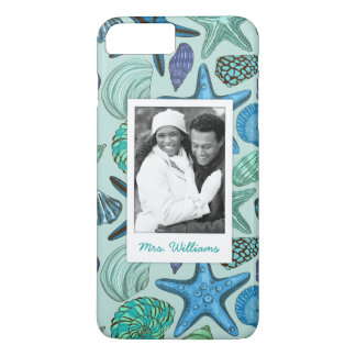 Blue Shells & Starfish Pattern | Your Photo & Name iPhone 8 Plus/7 Plus Case