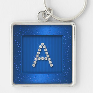 Blue Shimmer and Sparkle with Monogram Key Ring