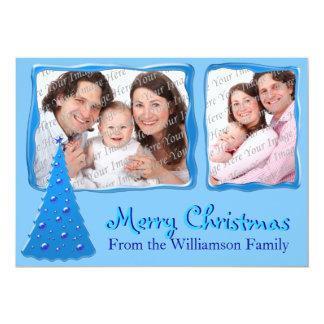 "Blue Shimmer Merry Christmas Flat Card 5"" X 7"" Invitation Card"